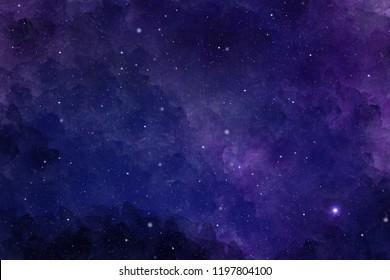 Watercolor abstract background with stars and nebula