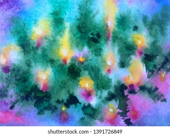 Watercolor abstract bright colorful textural background handmade . Painting of Christmas tree with candlies. Modern