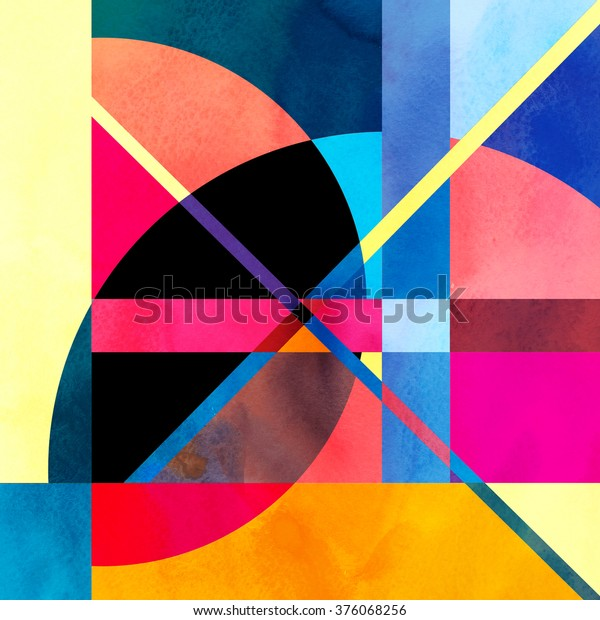 Watercolor abstract colorful background with fantastic elements. Background for design template.