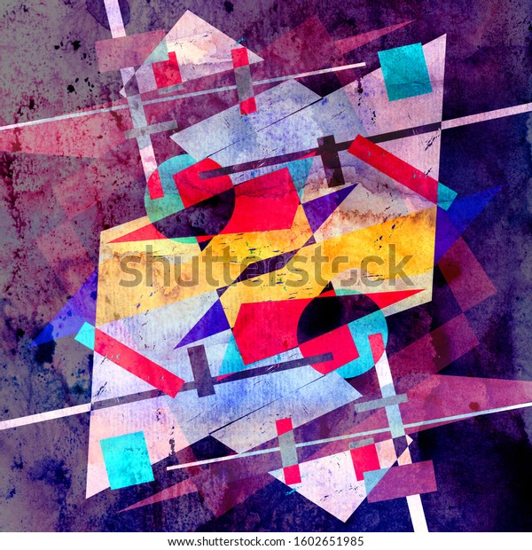 Watercolor abstract colorful background with geometry elements. Background for design template.