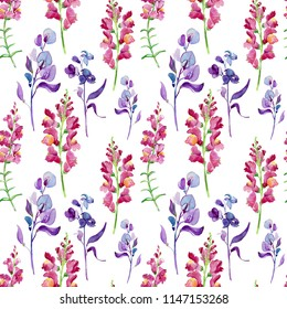 Watercolor abstract colorful spring wild flowers. Seamless fresh pattern. Free design beauty wallpaper. Fashion textile fabric magic wonderful print. Wedding. Celebration.