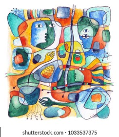 Watercolor abstract composition with faces, shapes and lines. Isolated on white background.