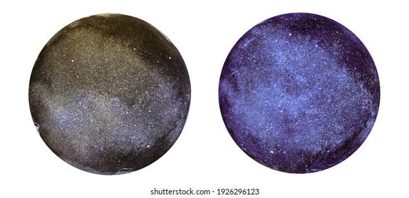 Watercolor abstract cosmos in circles. Set