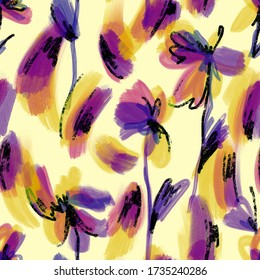 Watercolor abstract flowers. Floral sketch brush strokes seamless pattern. Outline drawing. Blurred botanical ornament. Fashionable design for fabric and textile. Paint texture.