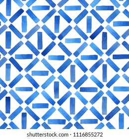 Watercolor abstract geometric background in blue. Hand painted seamless pattern