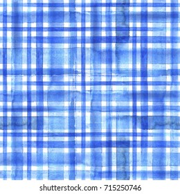 Watercolor abstract geometric plaid seamless pattern. Watercolor blue trendy background
