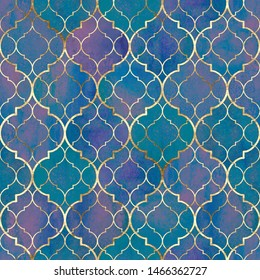 Watercolor abstract geometric seamless pattern. Vintage decorative moroccan texture with gold line. Watercolour hand drawn purple blue teal golden background. Print for textile, wallpaper, wrapping.