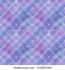 Watercolor abstract geometric stripe plaid seamless pattern with gold glitter line contour. Watercolour hand drawn bright colorful striped texture background. Print for textile, wallpaper, wrapping.