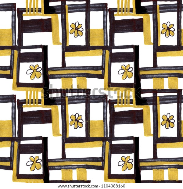 watercolor abstract gold and black stripes and flowers on white background for use in design, pattern for fabrics, textiles, wallpaper, web pages, paper, hand drawn illustration
