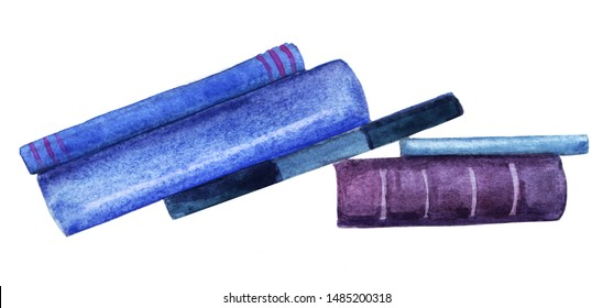 Watercolor abstract image of books leaning against each other. Spine viewed books of blue and purple shades isolated on white background. Hand drawn illustration on textured paper.
