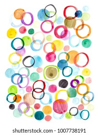 Watercolor abstract image of colorful dot and circle.