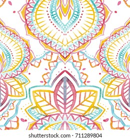 Watercolor abstract Indian pattern, doodle.  Indian print objects, flowers, Paisley pattern ,mehendi patterns
