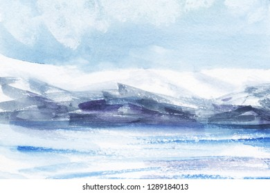 Watercolor abstract landscape. Ice fields, cold mountains. Light cloudy sky. Hand drawn on a paper illustration