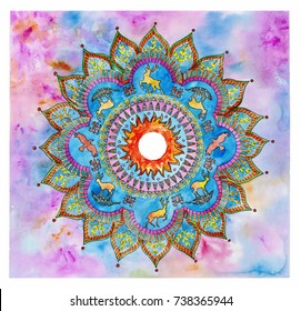 Watercolor abstract mandala ornament with ravens and deers on the colorfull background