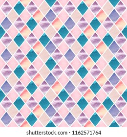 Watercolor abstract mosaic pastel colored illustration seamless pattern wallpaper, wrapping paper