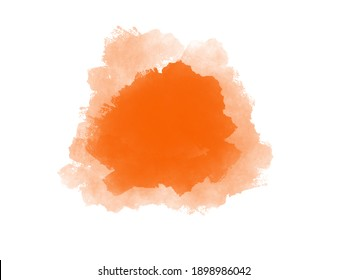 Watercolor abstract pained with orange color backgroun.