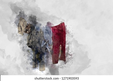 Watercolor abstract painting of clothes , digital watercolor painting