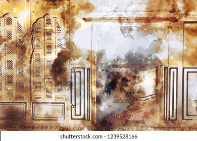 Watercolor abstract painting of wall with windows in brown