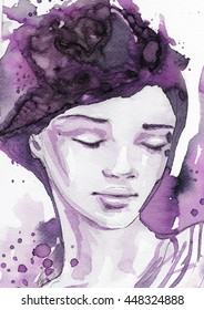 watercolor, abstract portrait of a woman