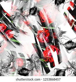Watercolor abstract seamless background, card, pattern, spot, splash of paint, blot, divorce. red, black, white paint color. Abstract flower silhouette, tulip,branch, Red Rose. Grunge background