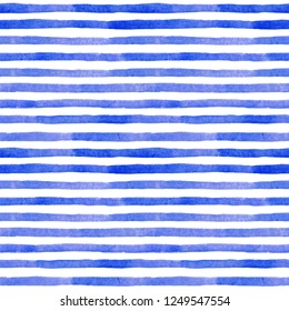 Watercolor abstract seamless pattern. Blue striped pattern.