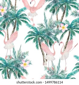 Watercolor abstract seamless pattern. Dancing flamingos and palm trees. Hand drawn illustration.