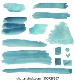 Watercolor abstract sketch grunge brush strokes, paint stains isolated on white background. Hand painting on paper