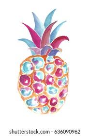 watercolor  abstrakt pineapple.