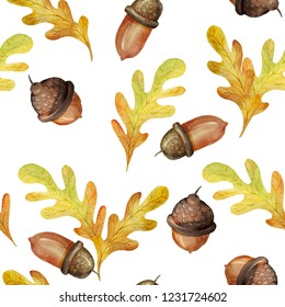 watercolor acorns and leaves pattern