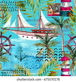 Watercolor adventure seamless pattern in marine style. Summer voyage background with lighthouse, yacht, abstract sea waves, palm trees and leaves. Water color art illustration