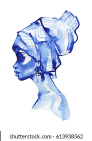 Watercolor african woman fashion portrait. Hand drawn beauty girl on white background. Painting monochrome illustration