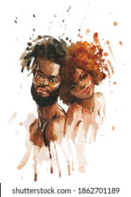 Watercolor african woman and man. Hand drawn portrait of beautiful couple on white background. Painting fashion illustration.