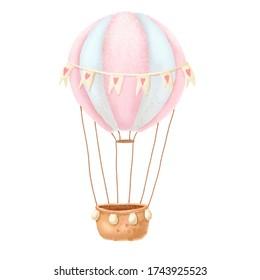 Watercolor air ballon . Baby print or poster. Hand drawn cute illustration Contemporary art.