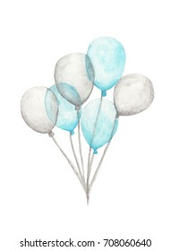 Watercolor air balloons. Hand drawn pack of party blue and white balloons isolated on white background. Greeting object art