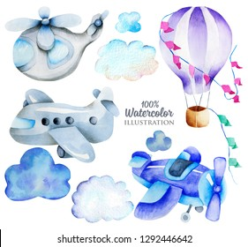 Watercolor air transport elements (airplane, helicopter, hot balloon) collection, illustration for kids, illustration for kids, hand painted isolated on a white background
