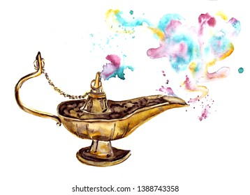 Watercolor Aladdin's magic gold lamp with smoke of gin close up, isolated on white background