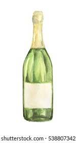 Watercolor alcohol bottle on white background. Alcohol beverage. Drink for restaurant or pub. Champagne.