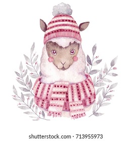 Watercolor alpaca illustration. Christmas watercolor animal.Cute kids illustration,perfect for greeting or post cards, prints on t-shirts, phone cases,book and other. Hand drawn baby animal