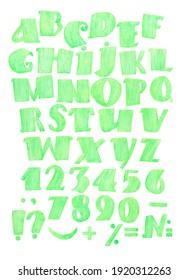 Watercolor Alphabet Clipart Alphabet green. Letters Numbers Punctuation Clipart