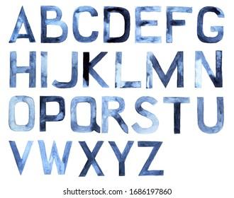Watercolor alphabet. Latin ABC, hand drawn design element