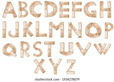 Watercolor alphabet. Wooden texture. Nature text elements for decoration, cards, invitation.