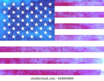 Watercolor American Flag Hand Painting Raster Illustration