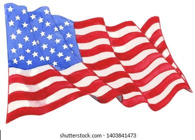 Watercolor American Flag Illustration, American Flag Clipart