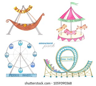 Watercolor amusement park, ferris wheel, roller coaster, merry go round and park rides.