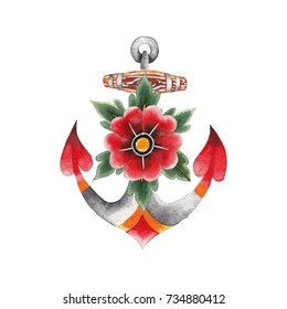 Watercolor anchor with floral decorations painted in old school tattoo style. Traditional design isolated on white background