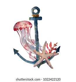 Watercolor anchor with jellyfish and coral. Hand painted underwater illustration with starfish, coral reef isolated on white background. Nautical illustration for design