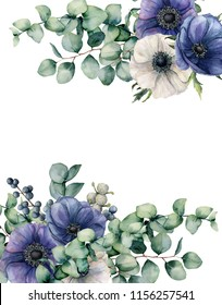 Watercolor anemone and eucalyptus floral card. Hand painted blue and white flowers, eucalyptus leaves isolated on white background. Illustration for design, fabric, print or background