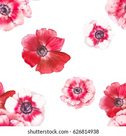Watercolor anemone flowers seamless pattern. Hand painted botanical repeating texture with red anemones on white background. Artistic floral wallpaper design for fabric, textile or others