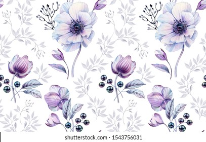 Watercolor anemones seamless pattern. Hand-painted surface design with buds, berries of black pearls. Magenta floral arrangements on white background for wedding stationery ,textile, wallpapers