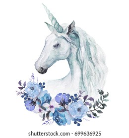 Watercolor animal floral boho illustration - sky blue unicorn with flower and feather elements for wedding, anniversary, birthday, etc. invitations.
